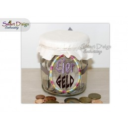 ITH Saving Jar Label EIER GELD 4x4 inch