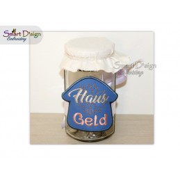 ITH Saving Jar Label HAUS GELD 4x4 inch
