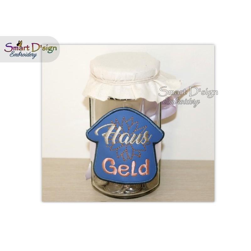ITH Saving Jar Label HAUS GELD 4x4 inch
