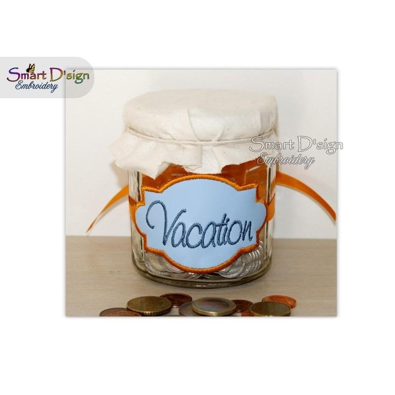 ITH Saving Jar Label VACATION 4x4 inch