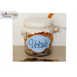 ITH Saving Jar Label URLAUB 4x4 inch