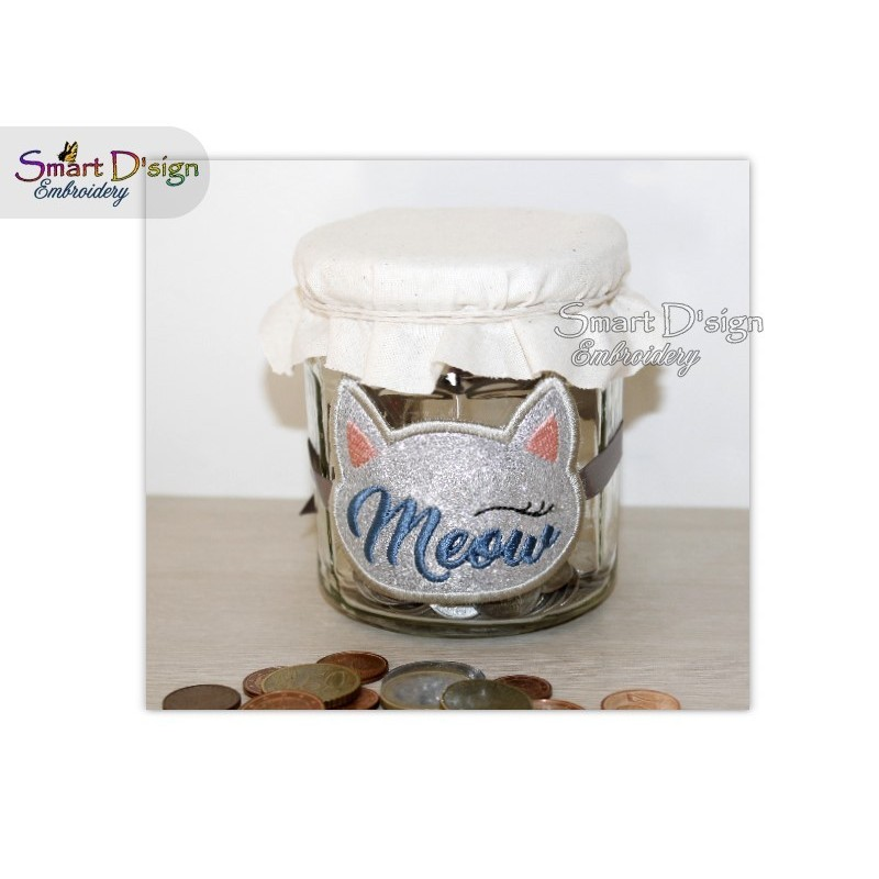 ITH Saving Jar Label MEOW CAT 4x4 inch
