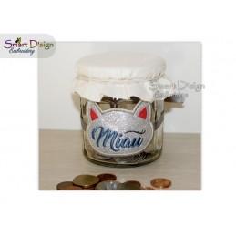 ITH Saving Jar Label MIAU KATZE 4x4 inch