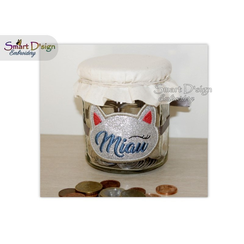 ITH Saving Jar Label MIAU KATZE 4x4 inch