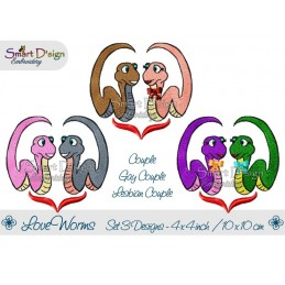 Love Worms 3 Versions 4x4 inch Couple, Gay, Lesbian