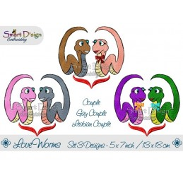 Love Worms 3 Versions 5x7 inch Couple, Gay, Lesbian