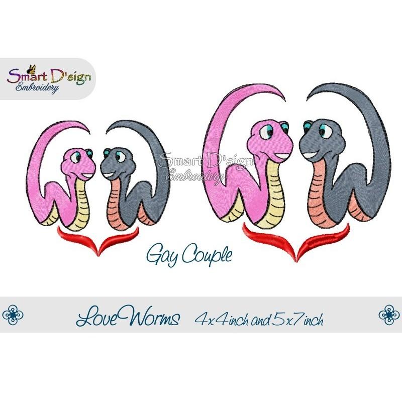 Verliebte Würmer 2 Größen Schwules Pärchen