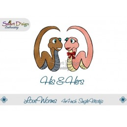 Love Worms HIS & HERS 2 Single Motifs 4x4 inch