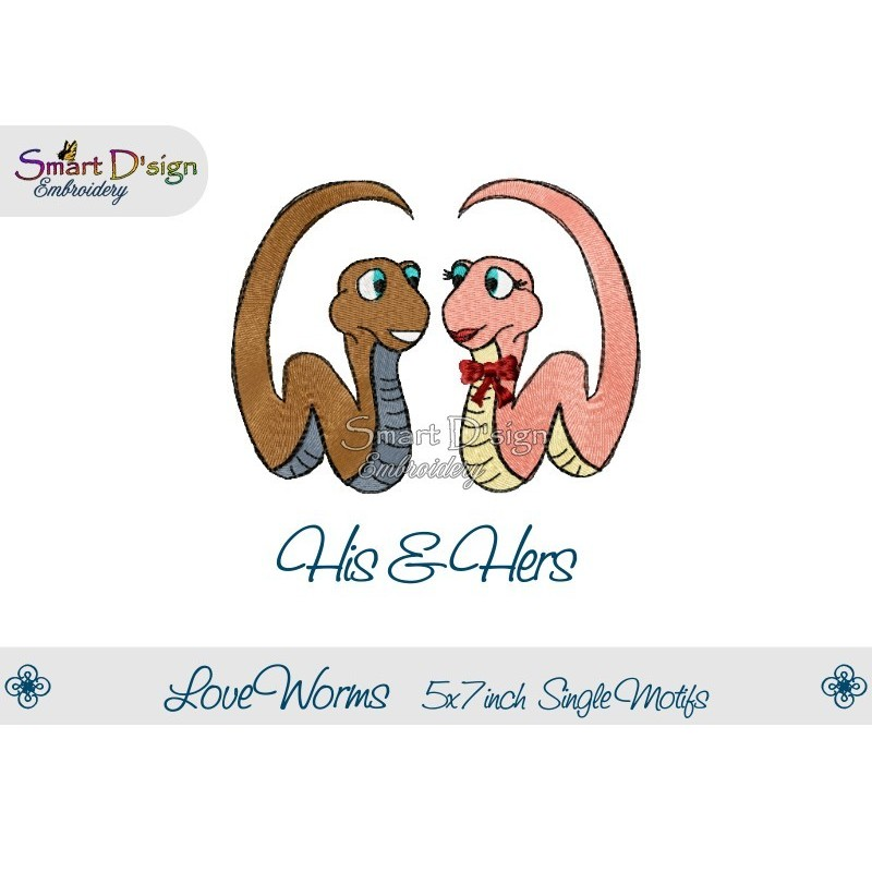 Love Worms HIS & HERS 2 Single Motifs 5x7 inch