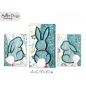 3x Easter Bunny Silhouette Appliques 4x4 inch