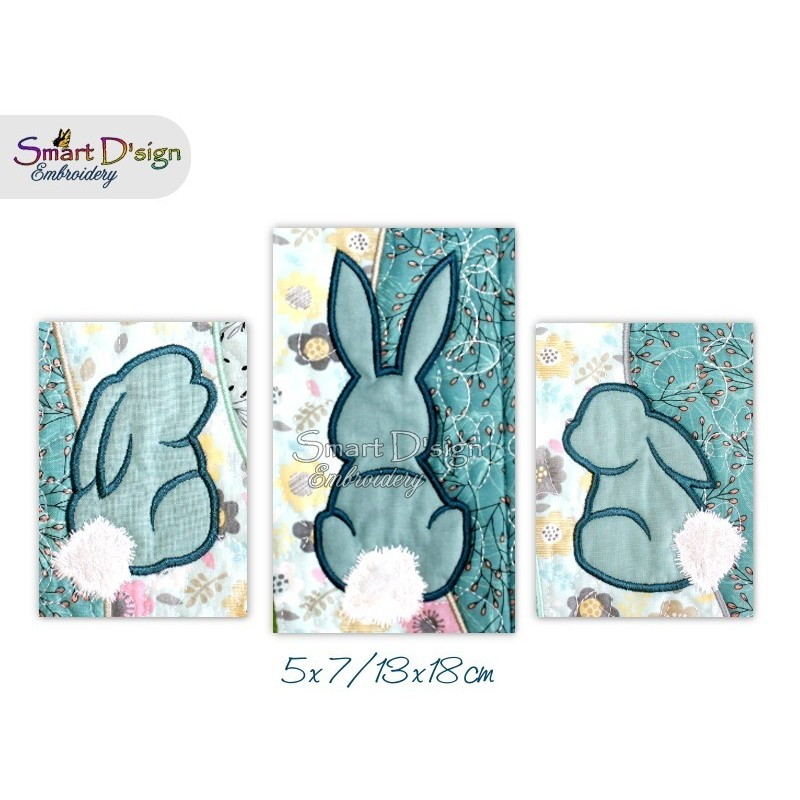 3x Easter Bunny Silhouette Appliques 5x7 inch
