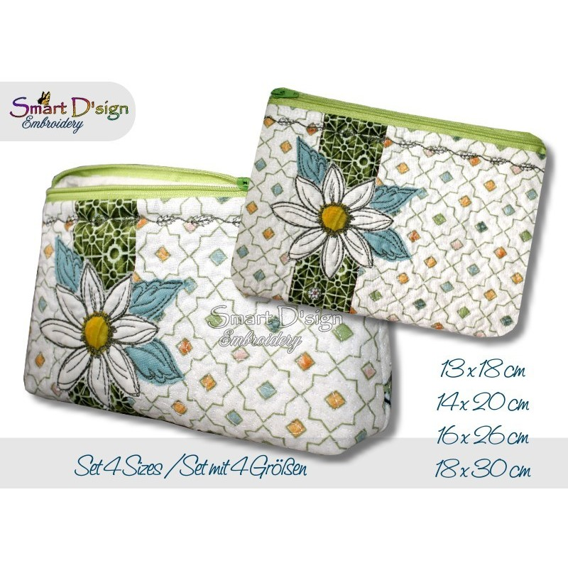 ITH Set 4x Sizes Quilt Zipper Bags Daisy Applique In the Hoop