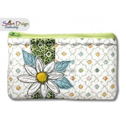 ITH 5.5x7.9 inch Quilt Zipper Bags Daisy Applique In the Hoop