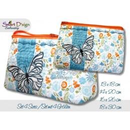 ITH Set 4x Größen Reißverschluss Quilttaschen mit Fransenapplikation Schmetterling In The Hoop