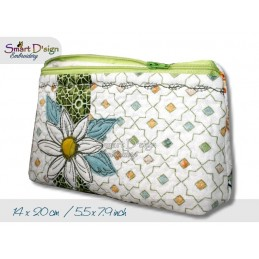 ITH 5.5x7.9 inch Quilt Zipper Bag Daisy Applique In the Hoop