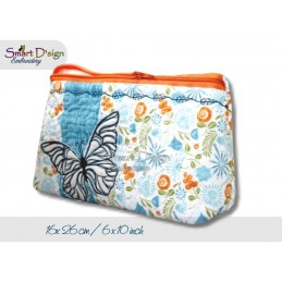 ITH 16x26 cm Reißverschluss Quilttasche mit Fransenapplikation Schmetterling In The Hoop
