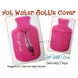 ITH Hot Water Bottle Cover Get Well Soon Feather - 7x12 inch
