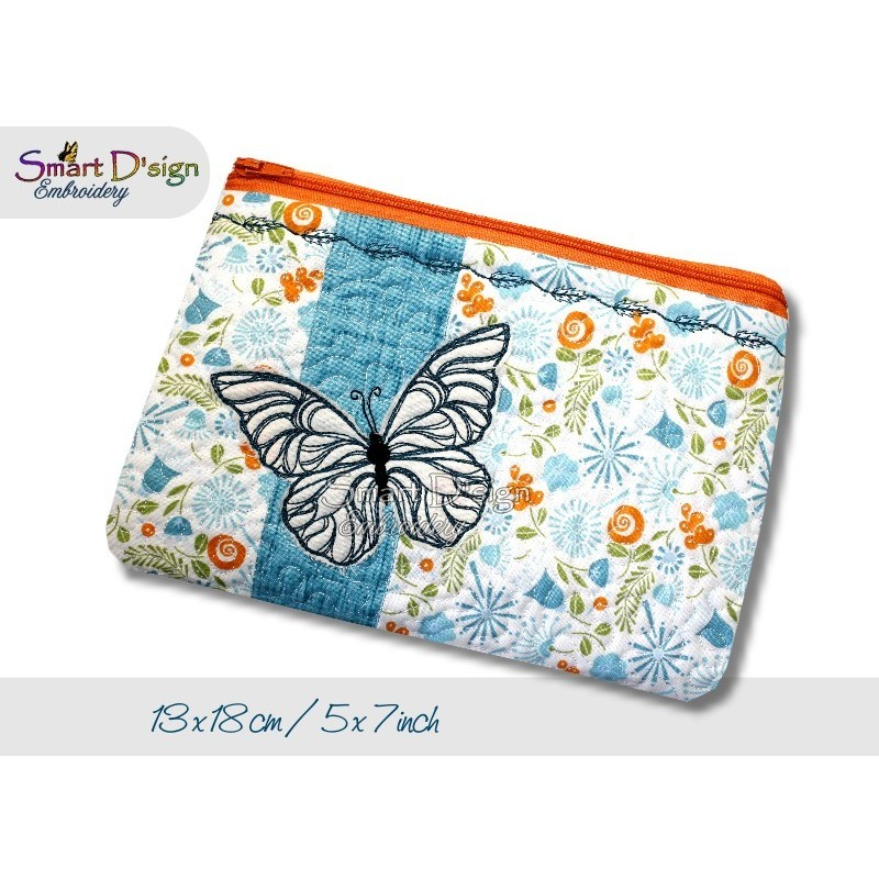 ITH 5x7 inch Quilt Zipper Bag Butterfly Applique In the Hoop