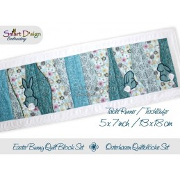 Table Runner Easter Bunny Quilt Blocks 5x7 inch