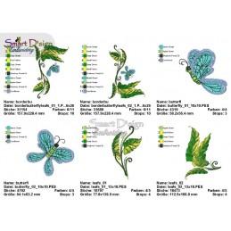 Doodle Blätterranken mit Schmetterlingen - Set mit Motiven in 3 Größen