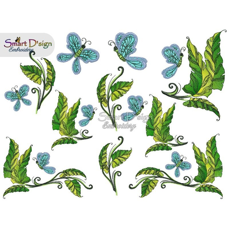 Doodle Vine Leafs with Butterfly Set 3x Sizes included