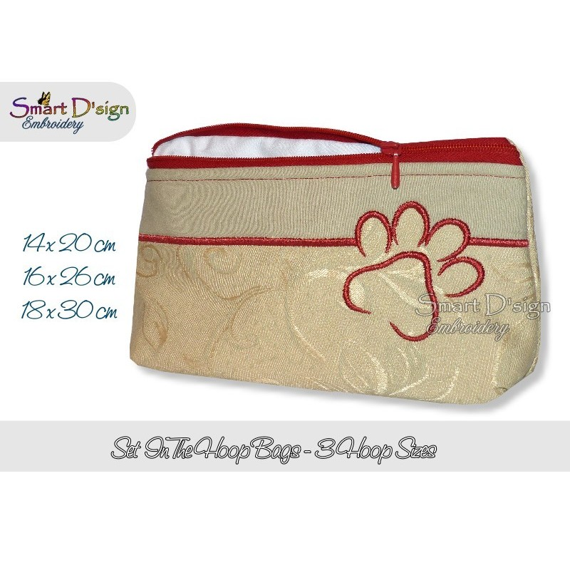 ITH PAW Silhouette Cosmetic Bag w. Inside Pockets 3 Sizes