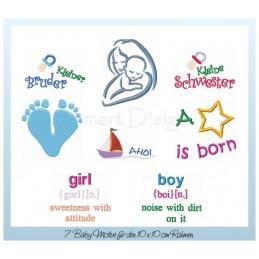 7 Baby Shower Motifs 4x4 inch