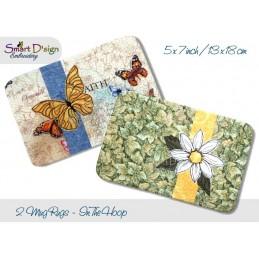 ITH 2x Quilt MugRug mit Doodle Applikation Schmetterling und Margarite 13x18 cm