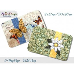 ITH 2x Quilt MugRug with Raw Applique Butterfly and Daisy 8x12 inch