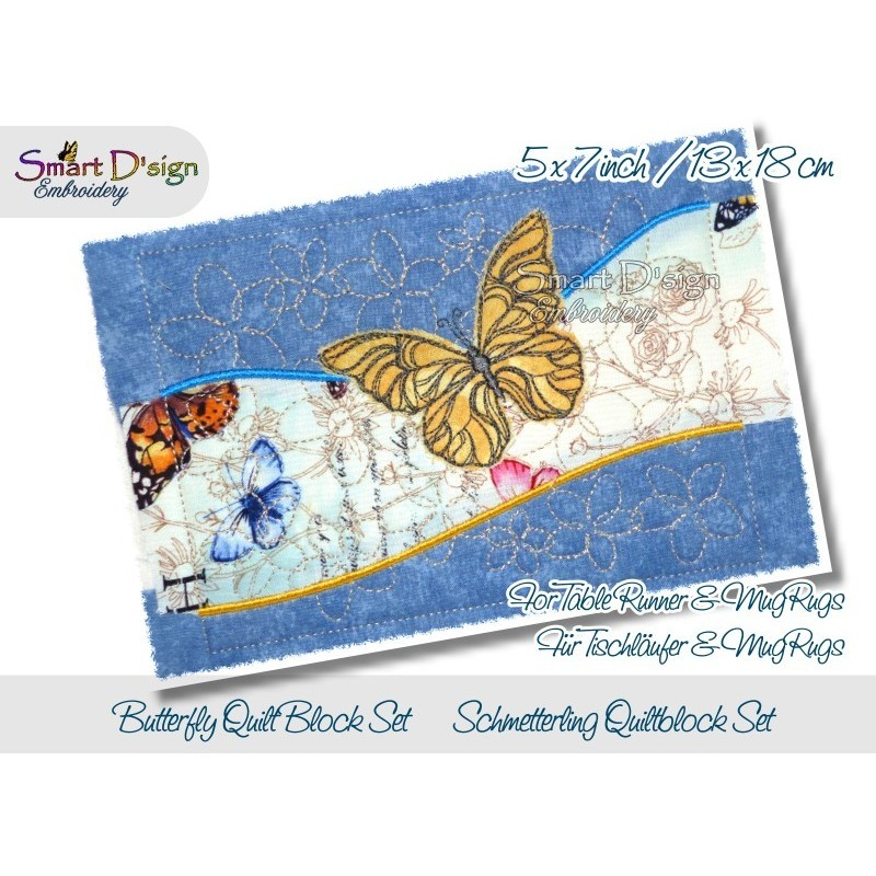 Table Runner Butterfly Quilt Blocks 5x7 inch