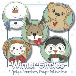 5 Winter Circles Appliques 4x4 inch