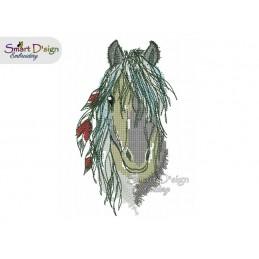 Indianer Pferd Pferdekopf mit Federn Kreuzstich 13x18 cm