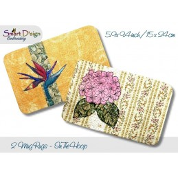 ITH 2x Quilt MugRug with Raw Applique Hydrangea & Strelizia Bird of Paradise 5.9x9.4 inch
