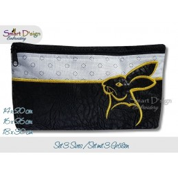 ITH RABBIT Silhouette Cosmetic Bag w. Inside Pockets 3 Sizes