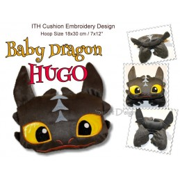 Hugo - ITH Dragon Cushion - 7x12 inch