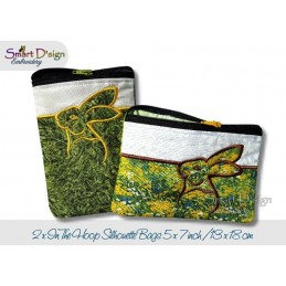 ITH 2x RABBIT BUNNY Silhouette Zipper Bag 5x7 inch