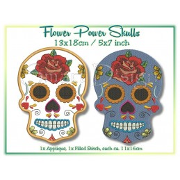2 x Flower Power Sugar Skulls 5x7 inch