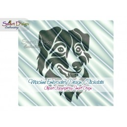 Australian Shepherd Silhouette Embroidery Design 2 Sizes