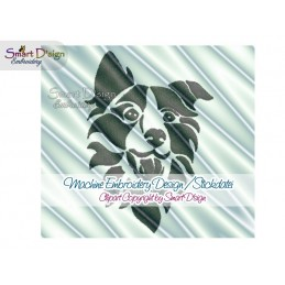 Border Collie Silhouette Embroidery Design 2 Sizes