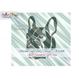 French Bulldog Silhouette Embroidery Design 2 Sizes