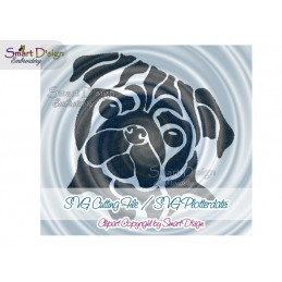 Pug Dog Silhouette SVG Cutting File