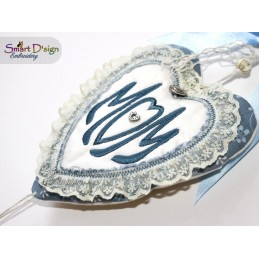 ITH 13x Heart Negative Applique Photo Frames Stipple Stitch