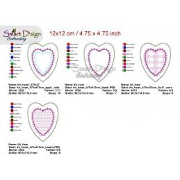 ITH 13x Heart Negative Applique Photo Frames Stipple Stitch