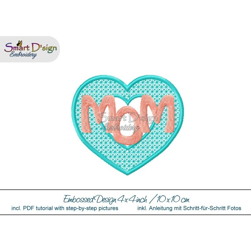 Embossed Heart MOM 4x4 inch