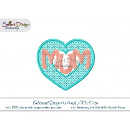 Embossed Heart MUM 4x4 inch