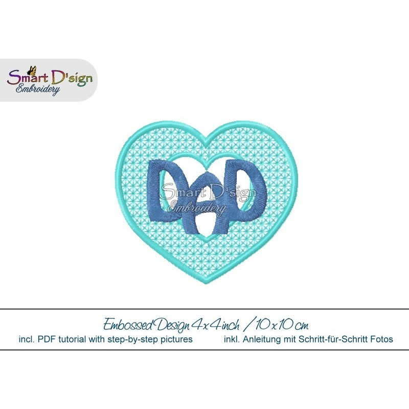 Embossed Heart DAD 4x4 inch