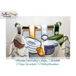 4x Towel Hanger KITCHEN 2 Sizes Set 1