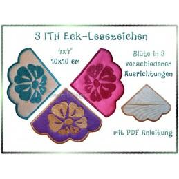 3 Blüten Eck-Lesezeichen Alphabet ITH 10x10 cm