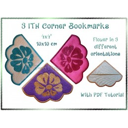 3 Flower Corner Bookmarks ITH 4x4 inch