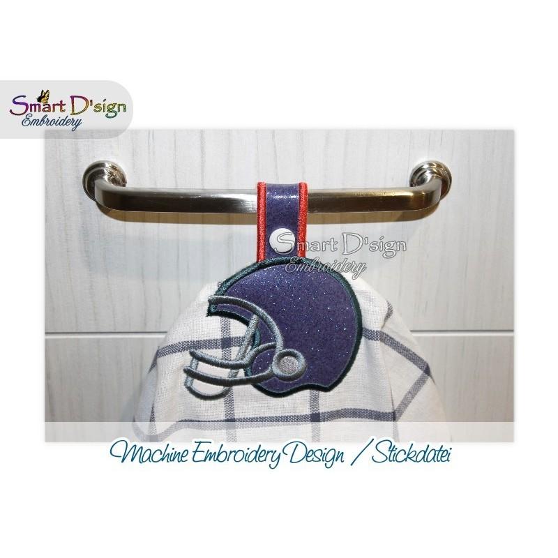 Towel Hanger FOOTBALL HELMET Sports ITH Embroidery Design Smart D'sign